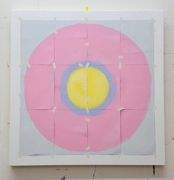 abstract painting, pink painting, target painting, trompe l'oeil, los angeles painter, conceptual, contemporary art